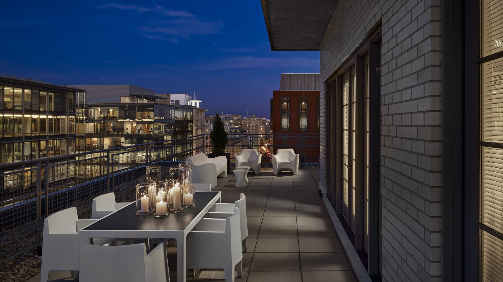 Welcome To AKA White House Modern Outdoor Chairs And Table With Candles    Rooftop View From AKA Washington DC AKA Washington DC Luxury Apartment ...