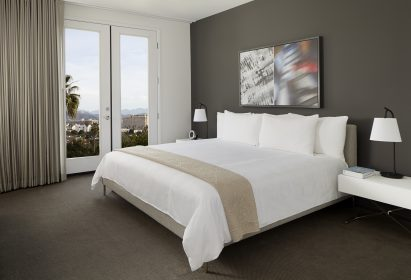 AKA BEverly Hills suite overlooking a sea of palm trees
